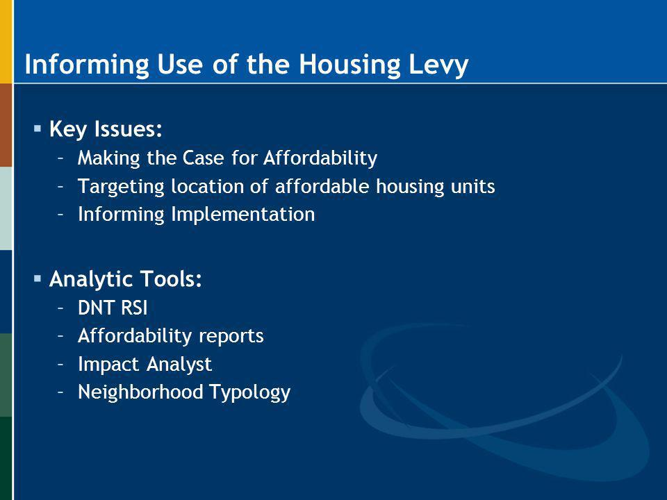 Informing Use of the Housing Levy