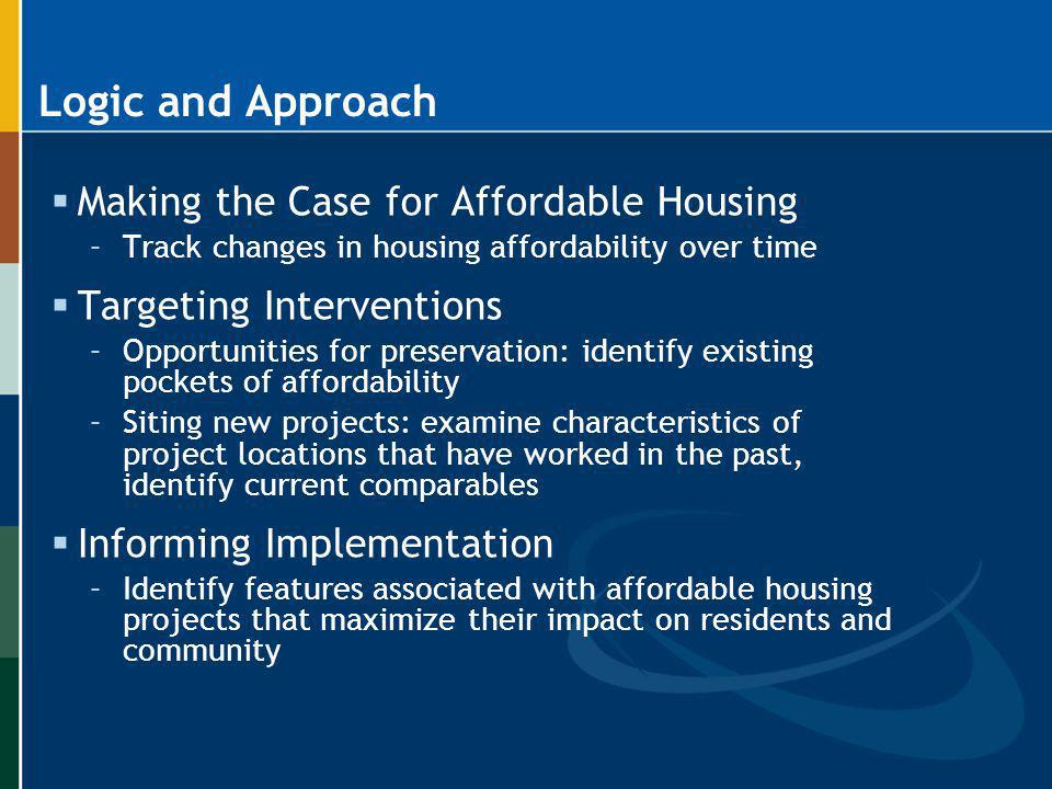 Logic and Approach Making the Case for Affordable Housing