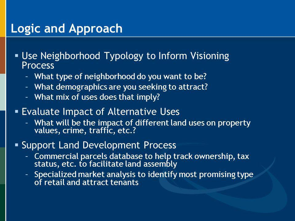 Logic and Approach Use Neighborhood Typology to Inform Visioning Process. What type of neighborhood do you want to be