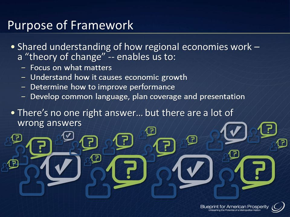Purpose of Framework Shared understanding of how regional economies work – a theory of change -- enables us to: