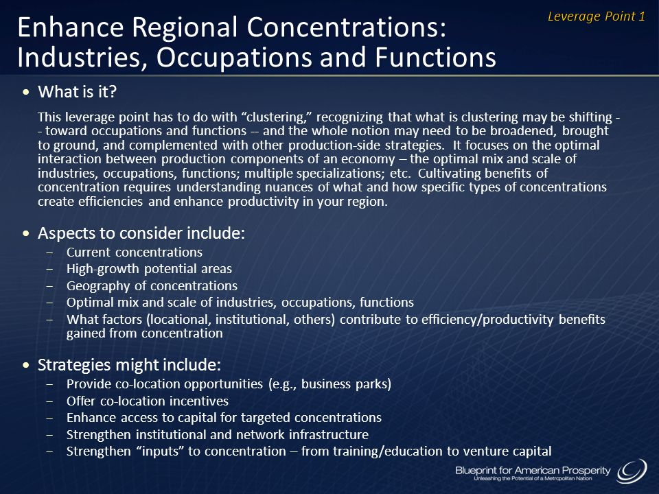 Enhance Regional Concentrations: Industries, Occupations and Functions