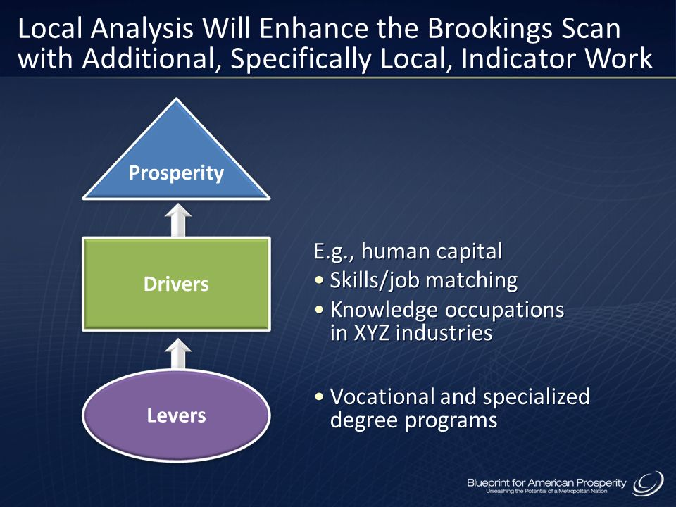 Local Analysis Will Enhance the Brookings Scan with Additional, Specifically Local, Indicator Work