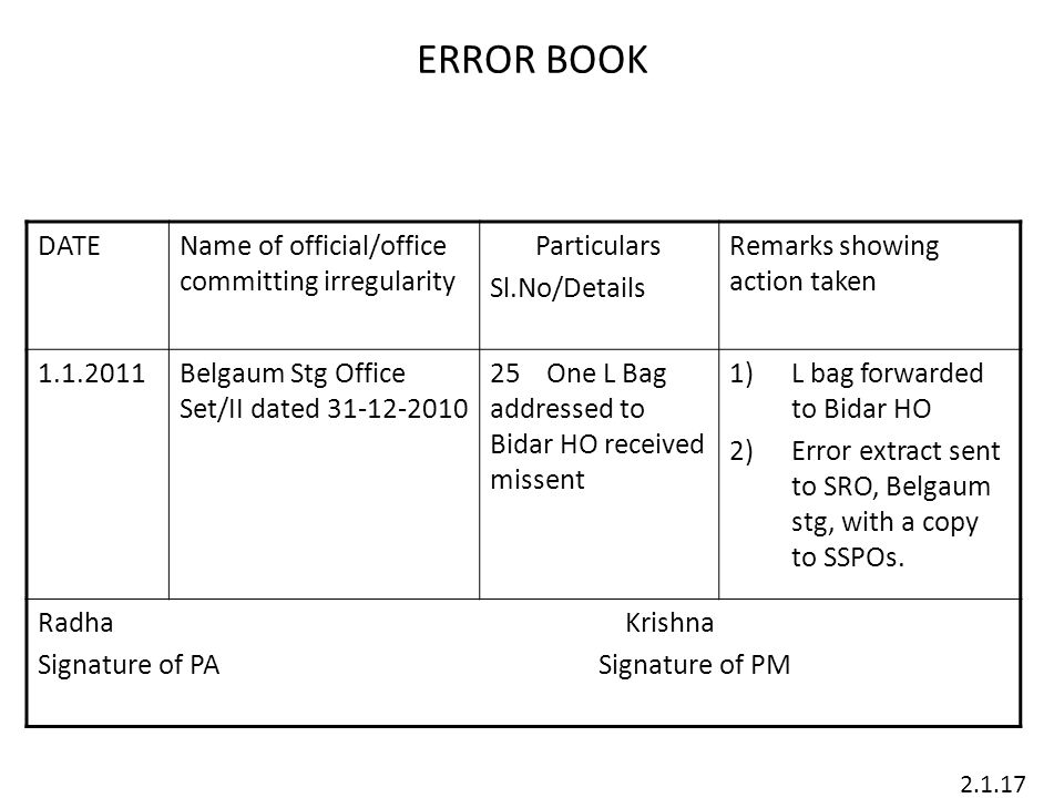 ERROR BOOK DATE Name of official/office committing irregularity