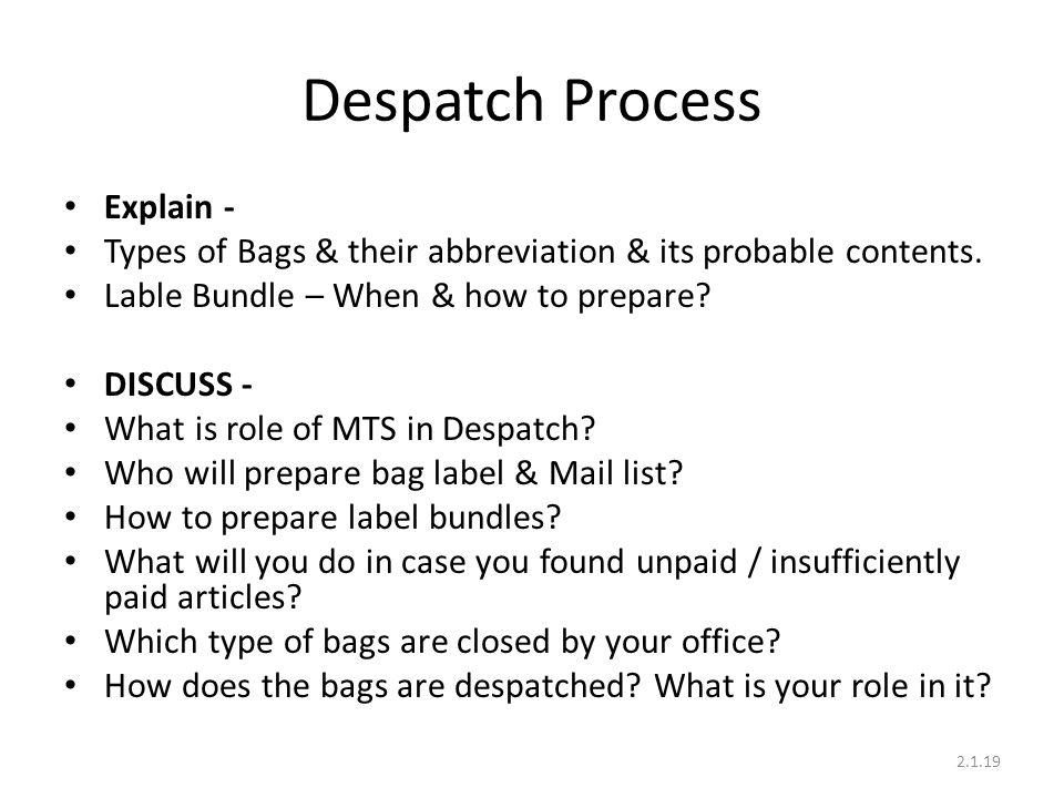 Despatch Process Explain -