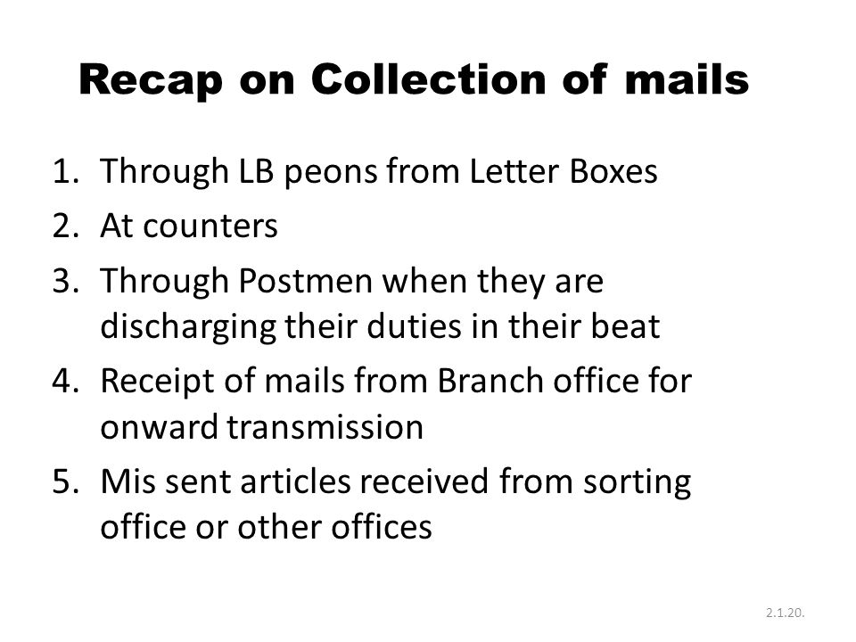 Recap on Collection of mails