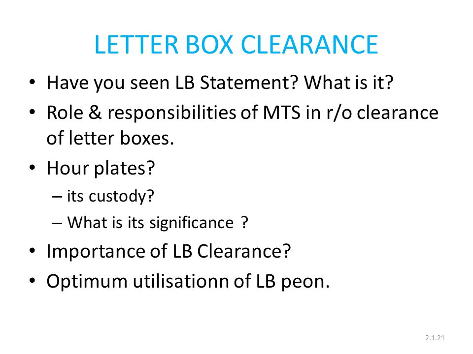 LETTER BOX CLEARANCE Have you seen LB Statement What is it
