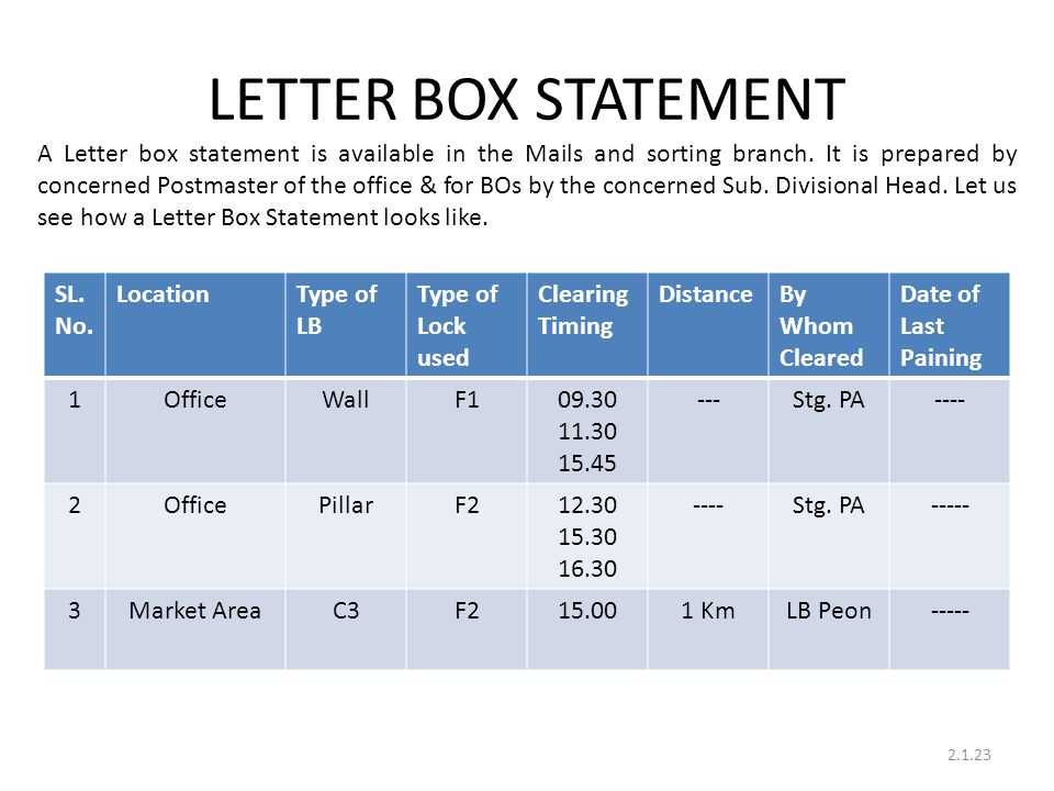 LETTER BOX STATEMENT