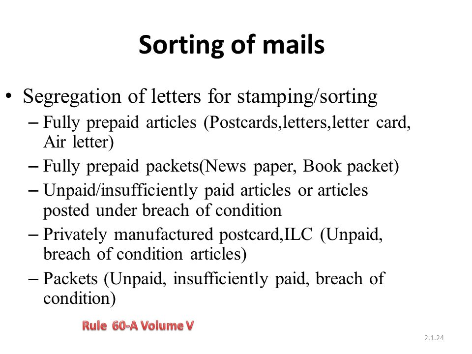 Sorting of mails Segregation of letters for stamping/sorting