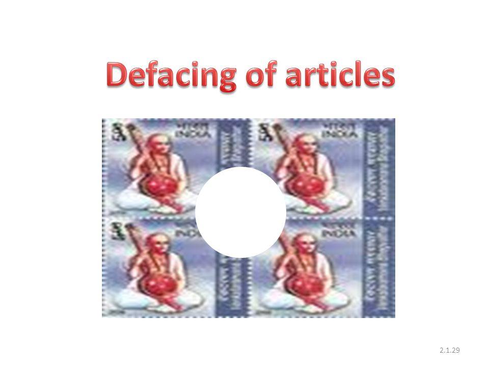 Defacing of articles