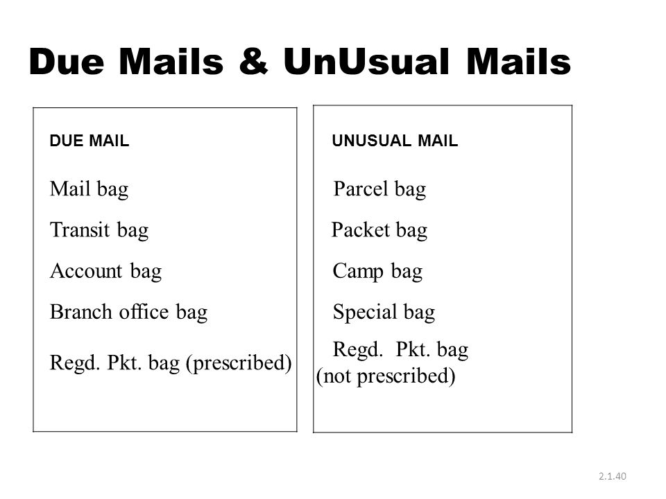 Due Mails & UnUsual Mails