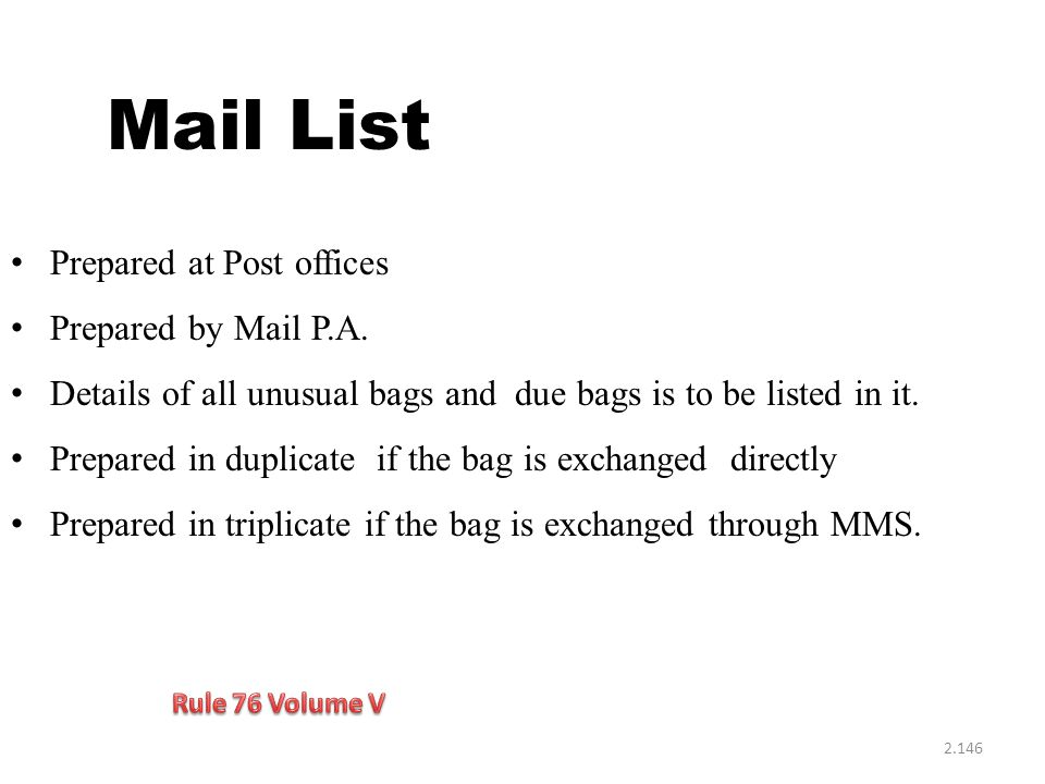Mail List Prepared at Post offices Prepared by Mail P.A.