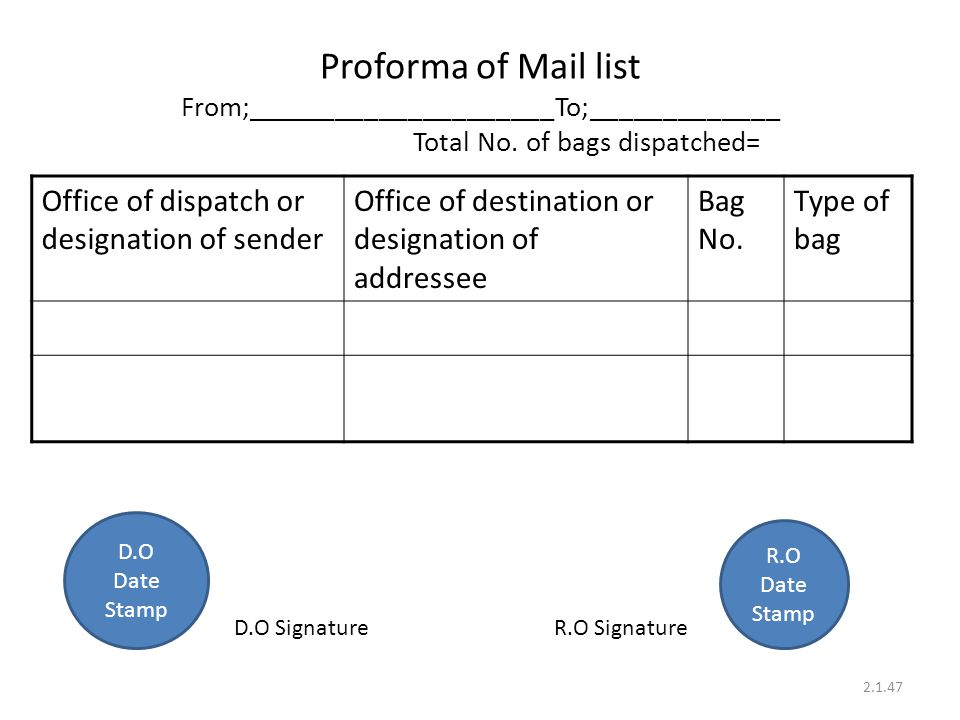 Proforma of Mail list From;_____________________To;_____________ Total No. of bags dispatched=