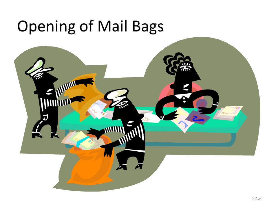 Opening of Mail Bags .