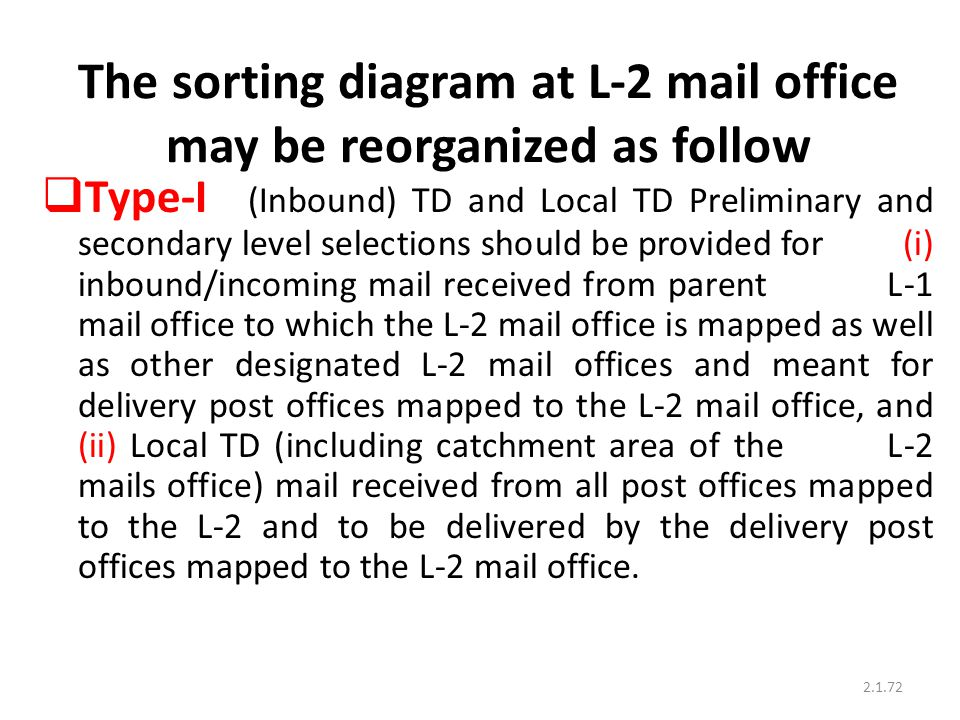 The sorting diagram at L-2 mail office may be reorganized as follow