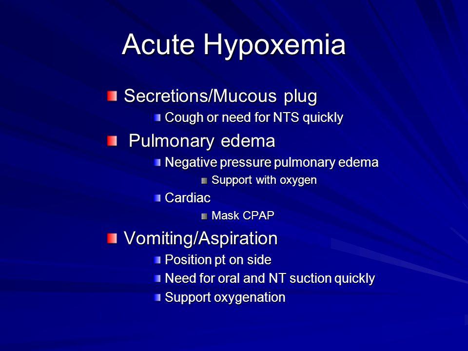 Acute Hypoxemia Secretions/Mucous plug Pulmonary edema