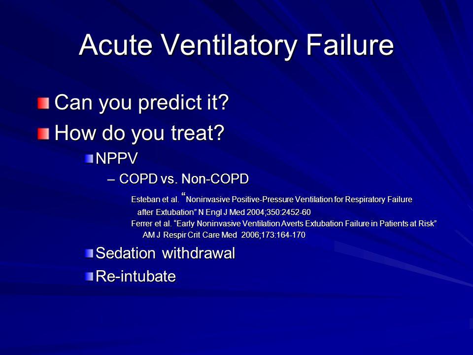 Acute Ventilatory Failure