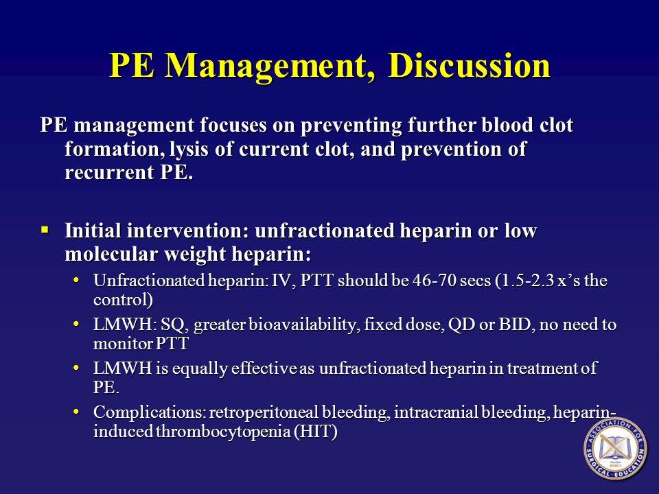 PE Management, Discussion