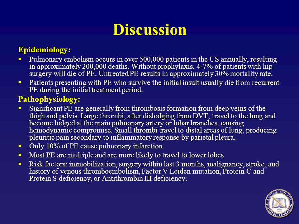Discussion Epidemiology: Pathophysiology: