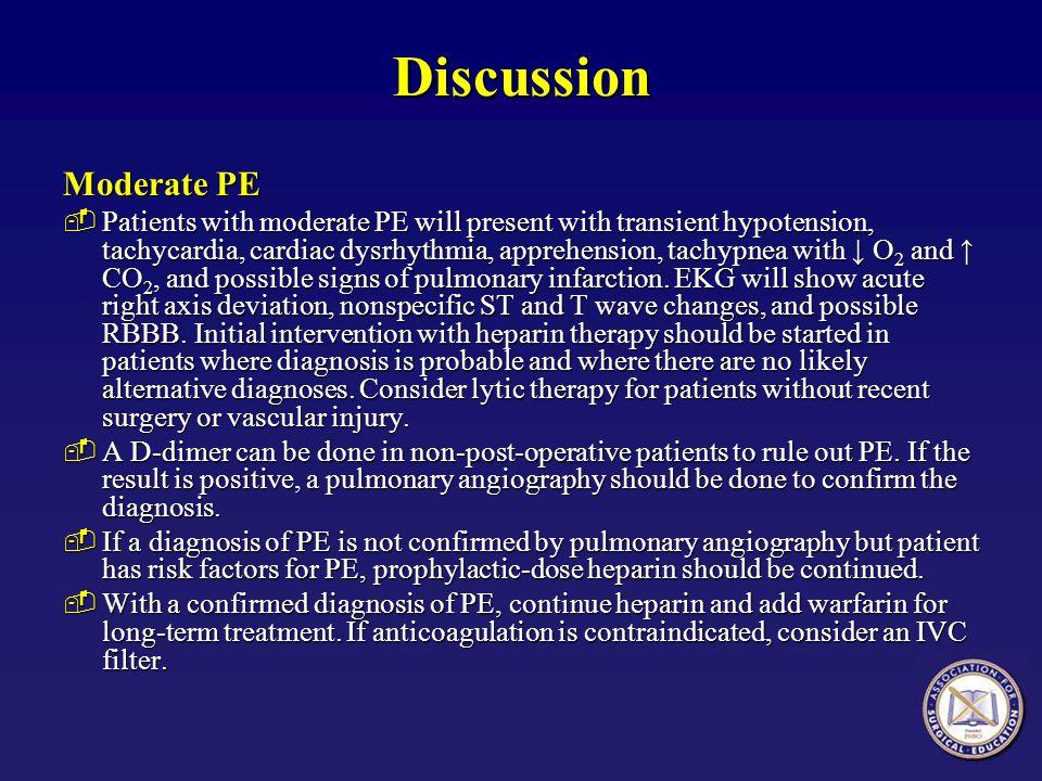 Discussion Moderate PE