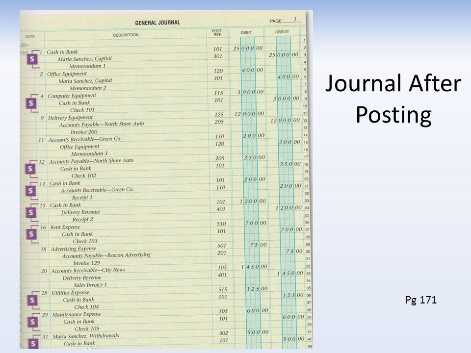 Journal After Posting Pg 171