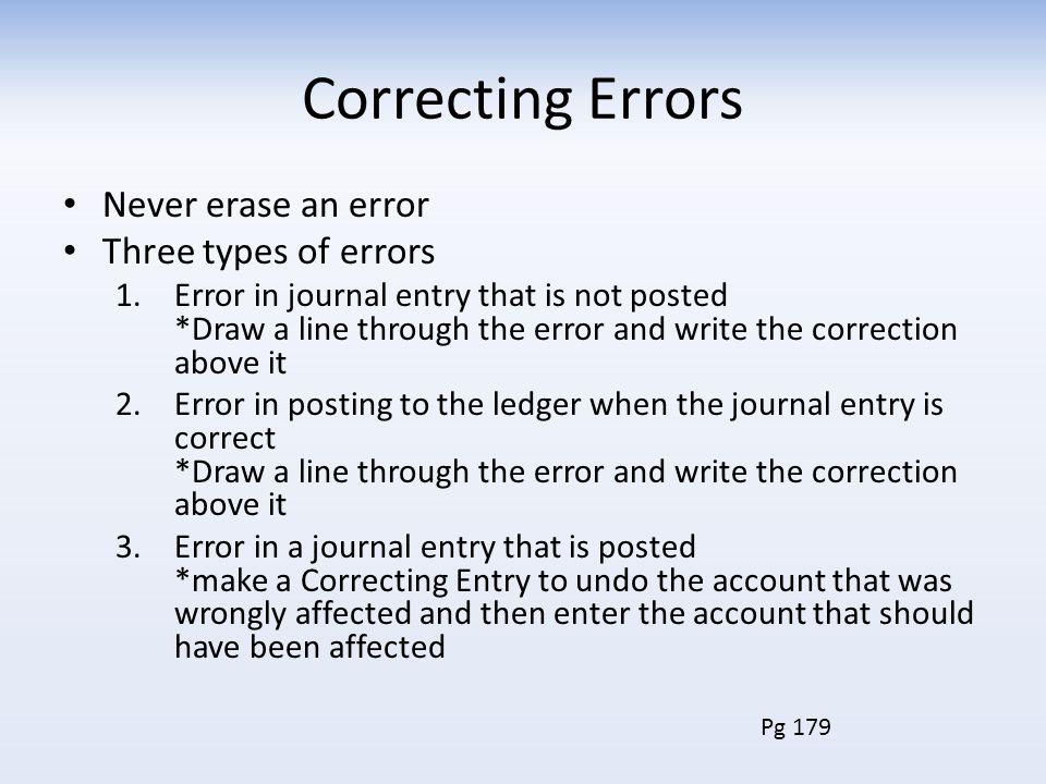 Correcting Errors Never erase an error Three types of errors