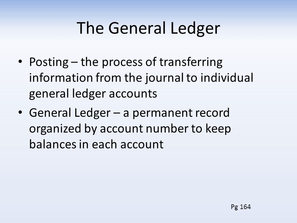 The General Ledger Posting – the process of transferring information from the journal to individual general ledger accounts.