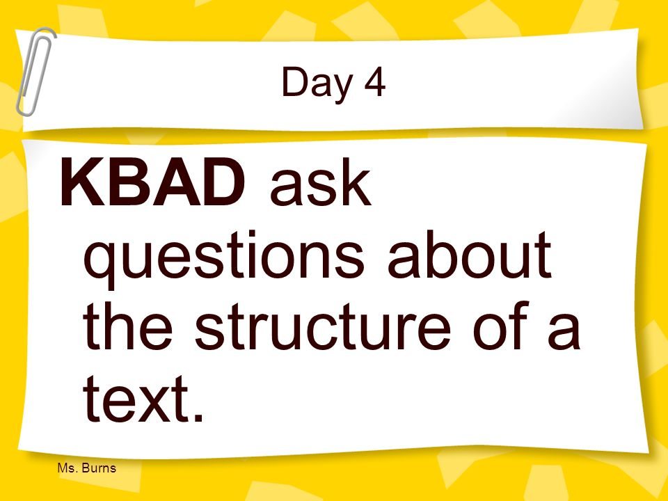 KBAD ask questions about the structure of a text.