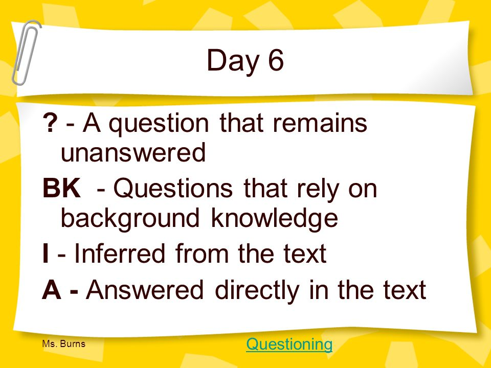 Day 6 - A question that remains unanswered