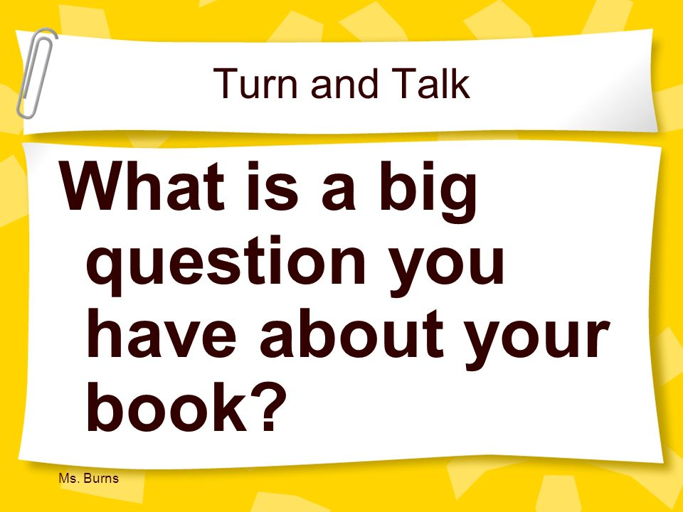 What is a big question you have about your book