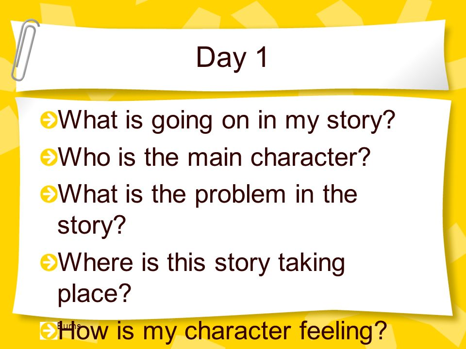 Day 1 What is going on in my story Who is the main character