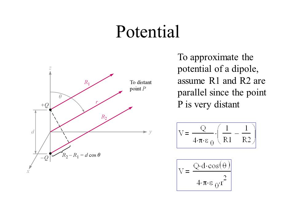 Potential To approximate the potential of a dipole, assume R1 and R2 are parallel since the point P is very distant.