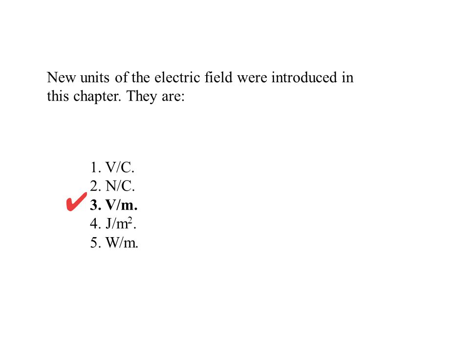 New units of the electric field were introduced in this chapter