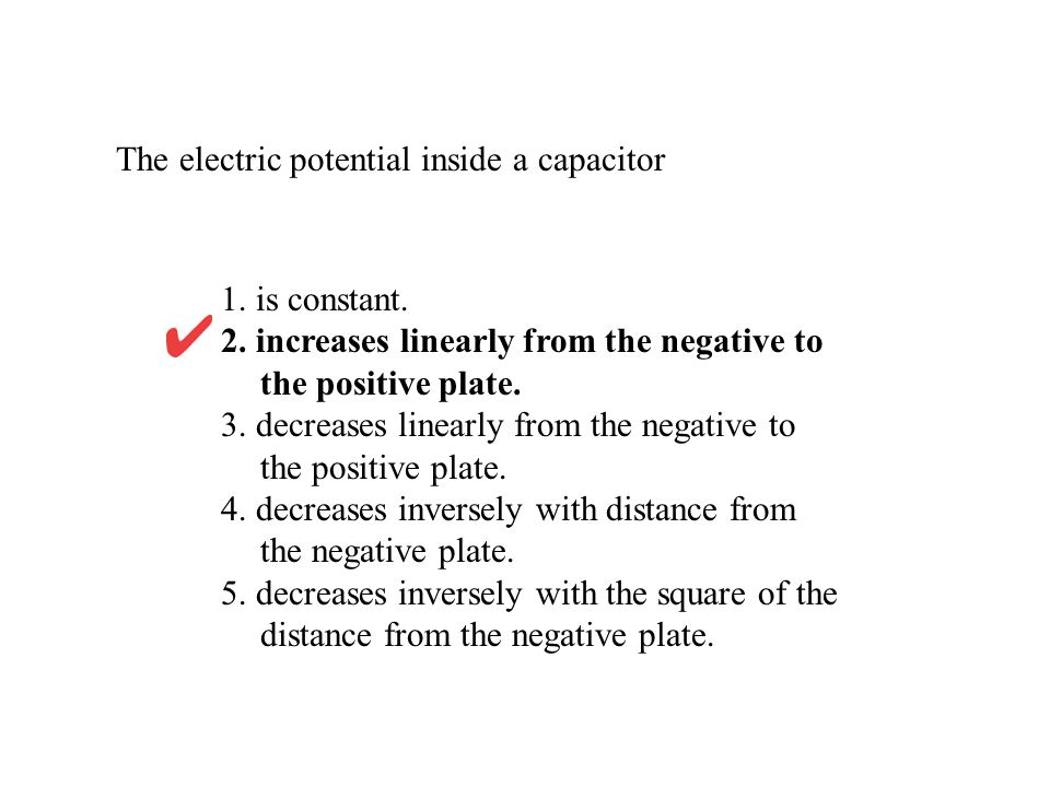 The electric potential inside a capacitor