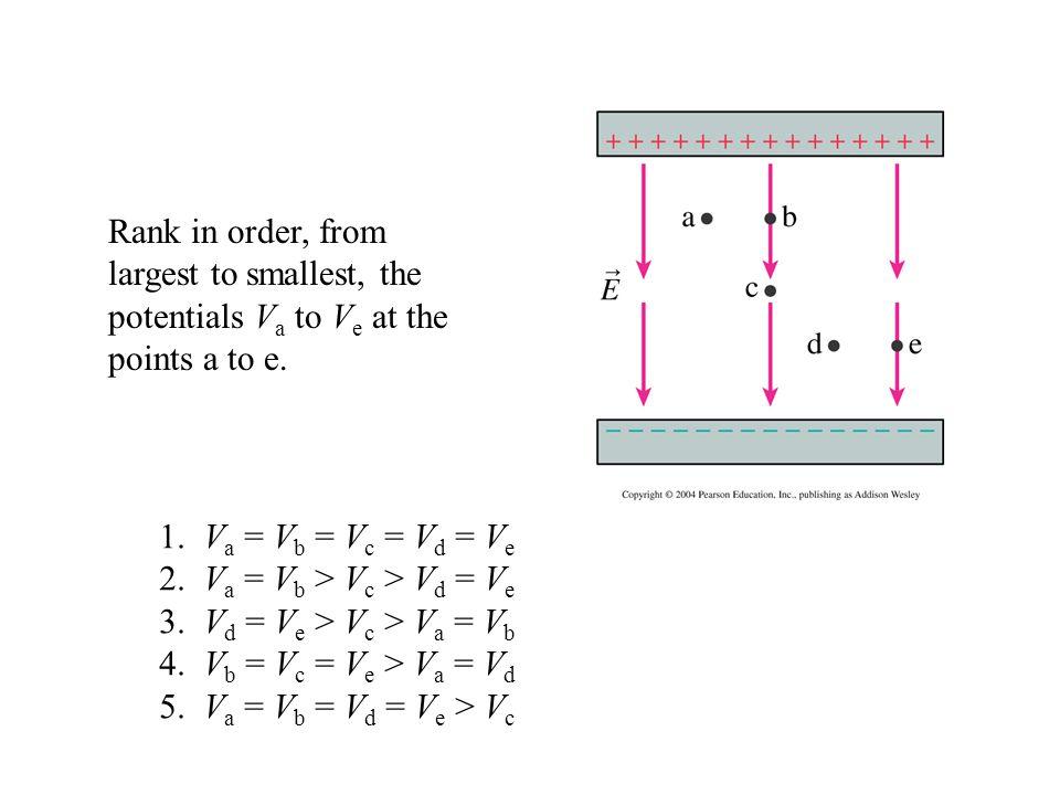 2. Va = Vb > Vc > Vd = Ve 3. Vd = Ve > Vc > Va = Vb
