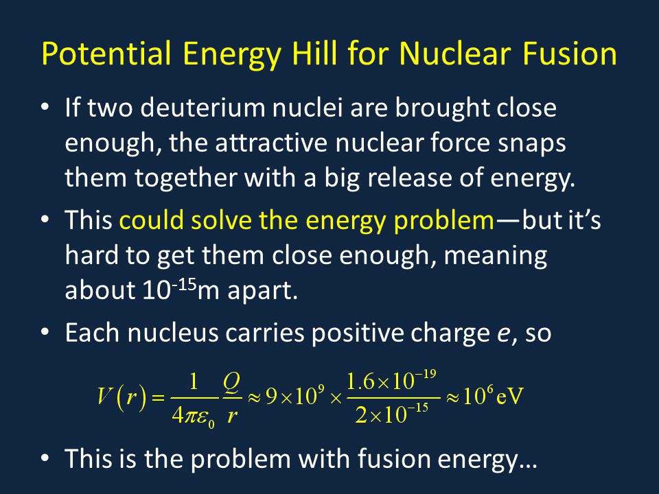 Potential Energy Hill for Nuclear Fusion