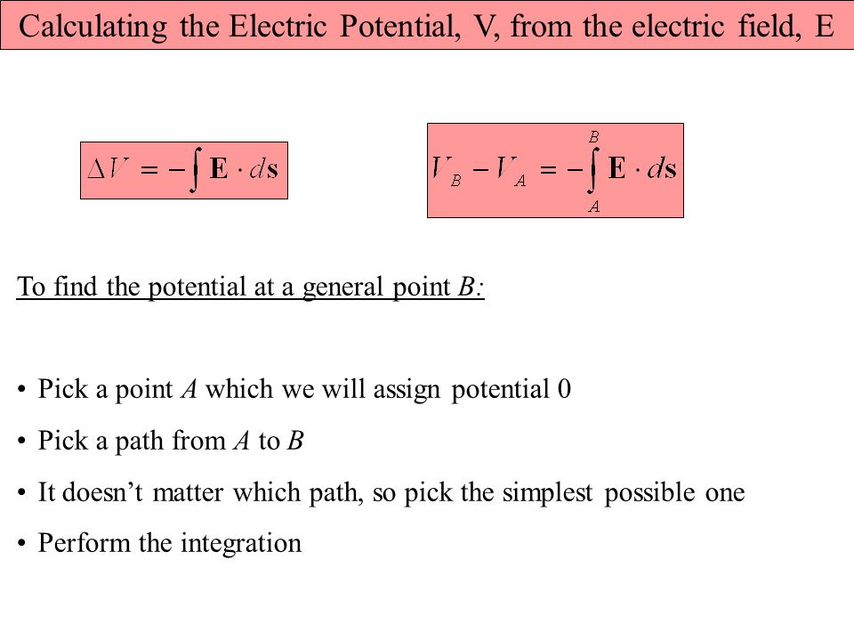 Calculating the Electric Potential, V, from the electric field, E