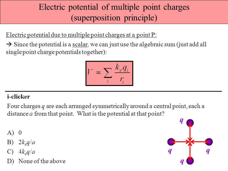 Electric potential of multiple point charges (superposition principle)