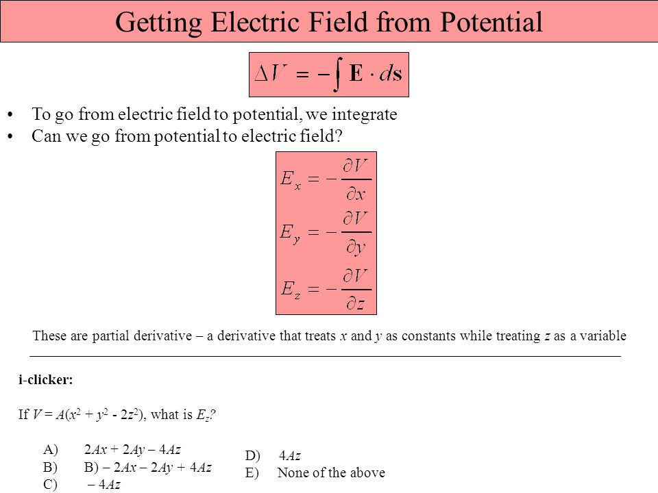 Getting Electric Field from Potential