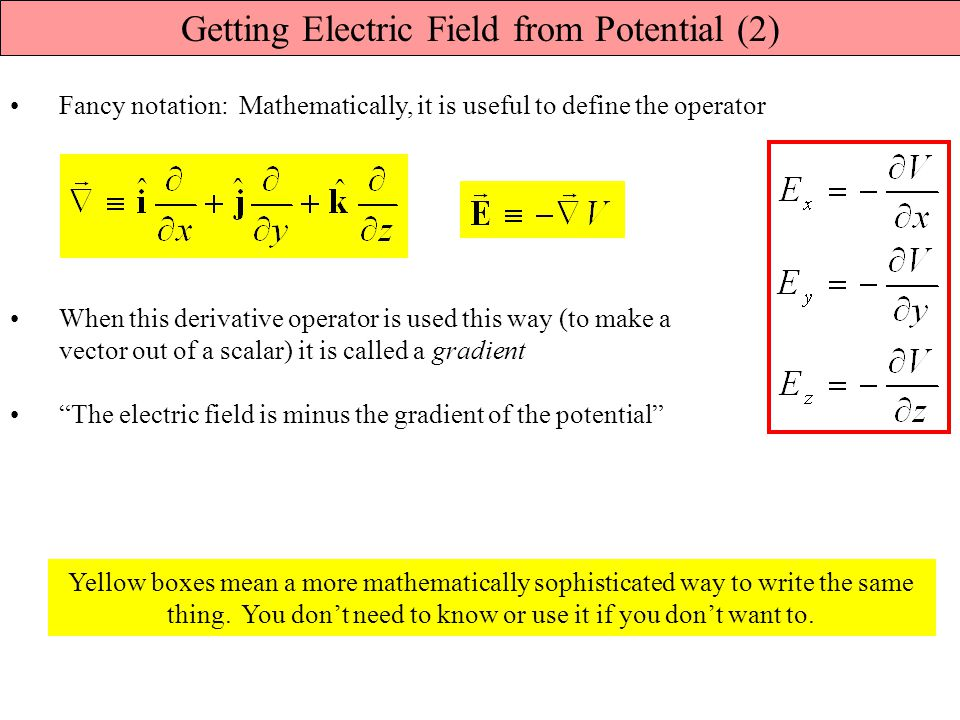 Getting Electric Field from Potential (2)