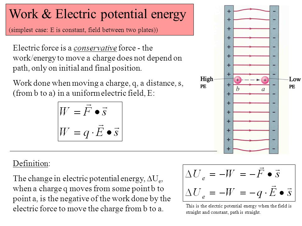 Work & Electric potential energy