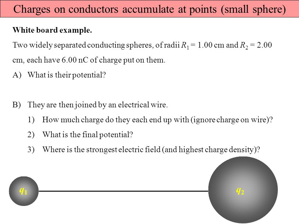Charges on conductors accumulate at points (small sphere)