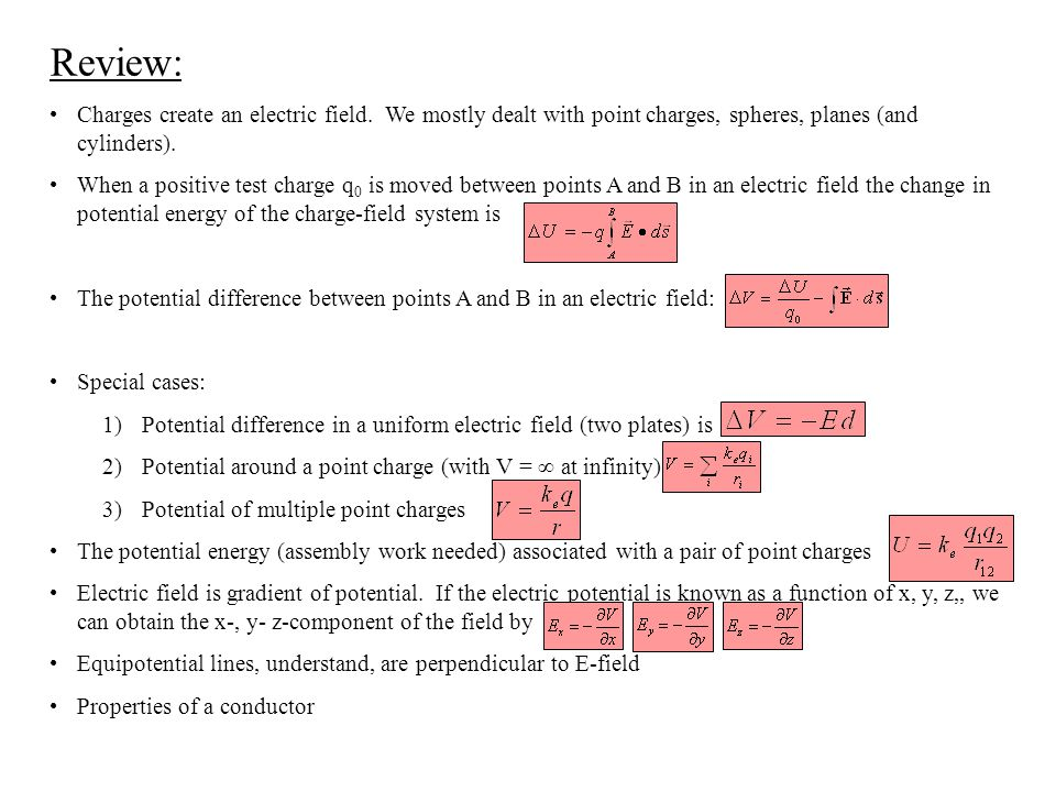 Review: Charges create an electric field. We mostly dealt with point charges, spheres, planes (and cylinders).