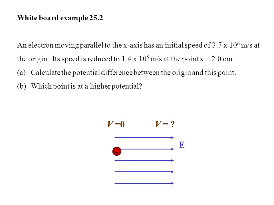 V =0 V = E - White board example 25.2
