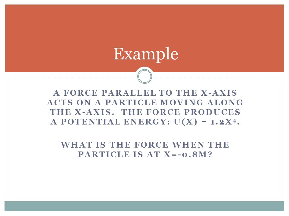 What is the force when the particle is at x=-0.8m