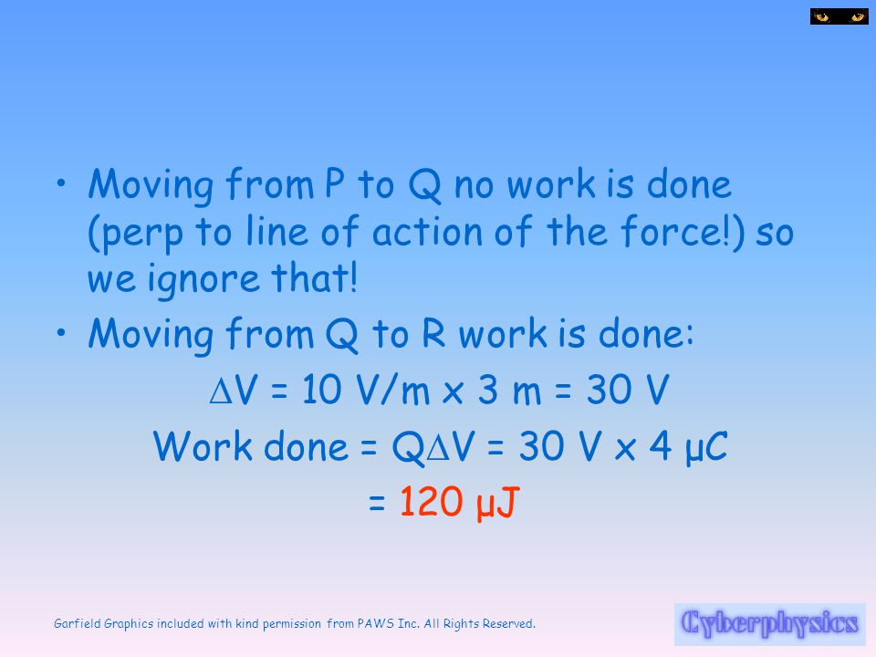 Moving from P to Q no work is done (perp to line of action of the force!) so we ignore that!