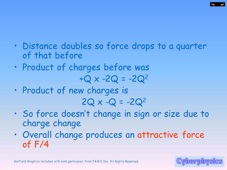 Distance doubles so force drops to a quarter of that before