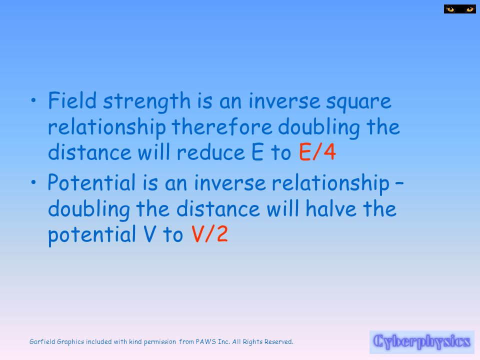 Field strength is an inverse square relationship therefore doubling the distance will reduce E to E/4