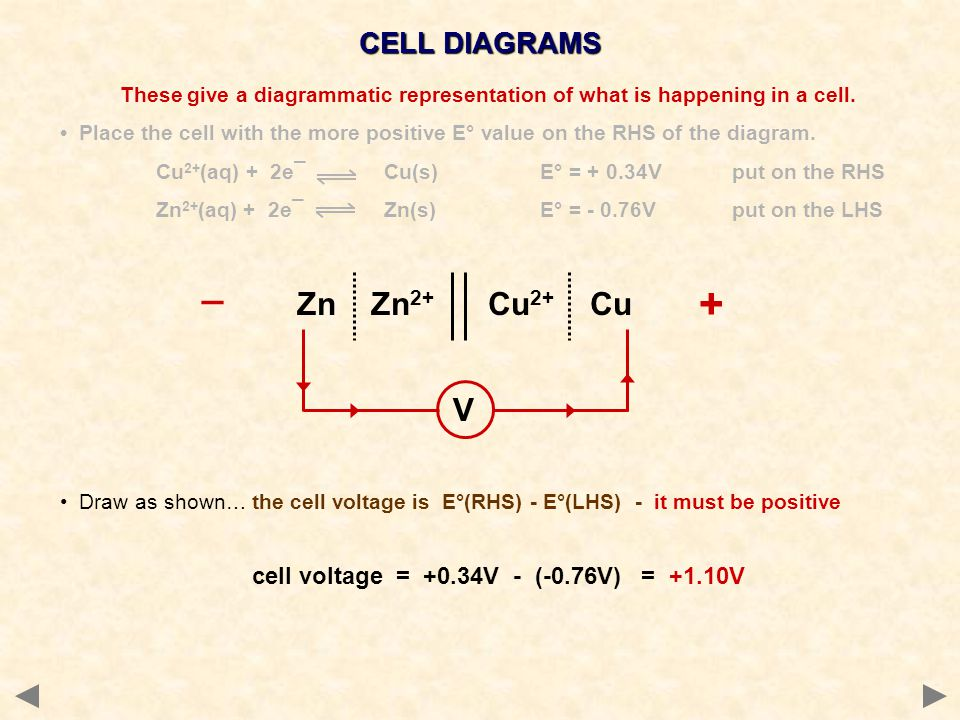 + _ Zn Zn2+ Cu2+ Cu V CELL DIAGRAMS