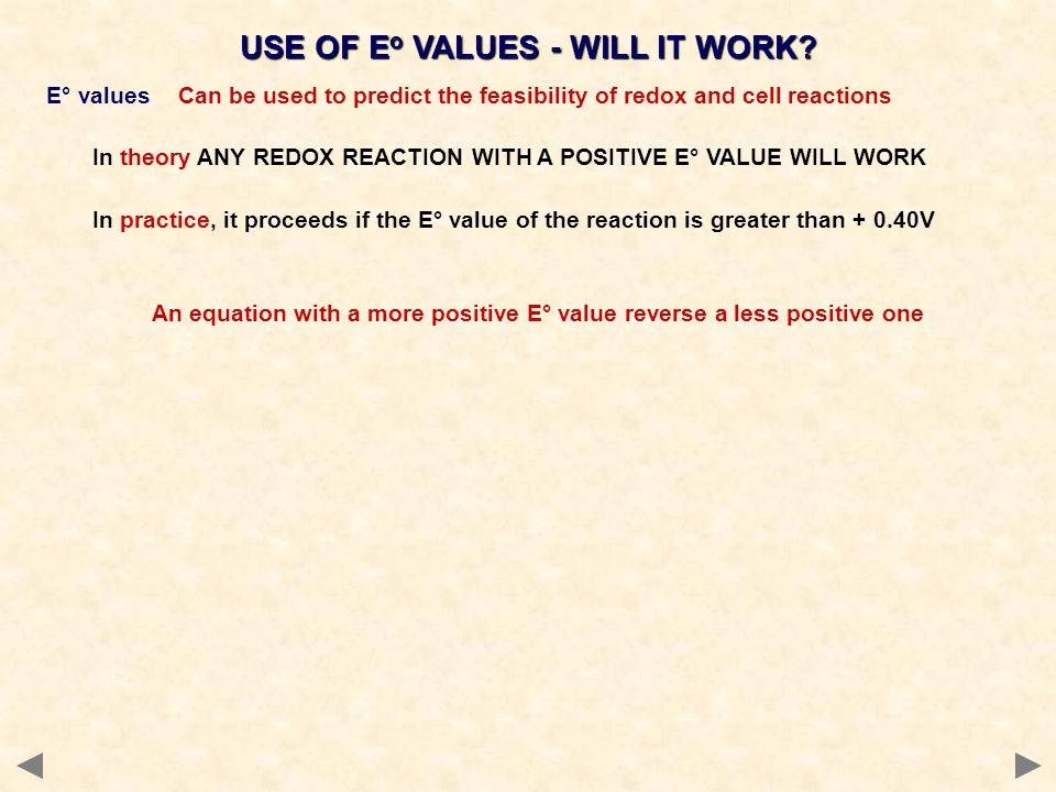 USE OF Eo VALUES - WILL IT WORK