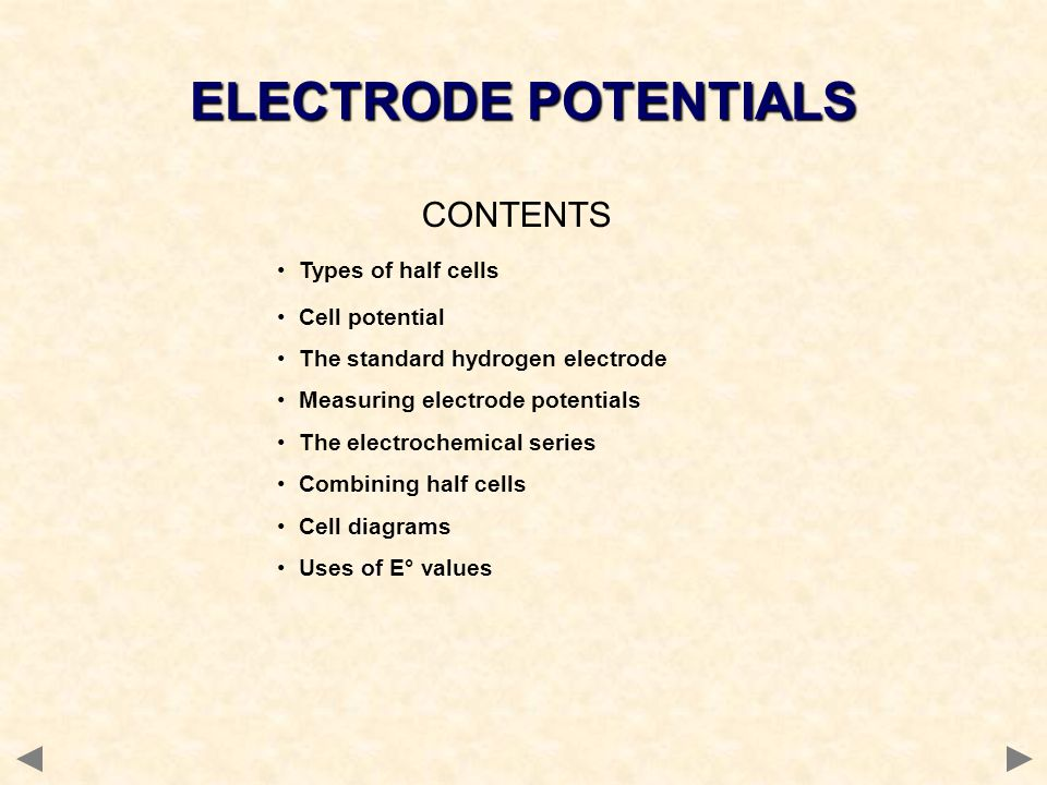 ELECTRODE POTENTIALS CONTENTS Types of half cells Cell potential